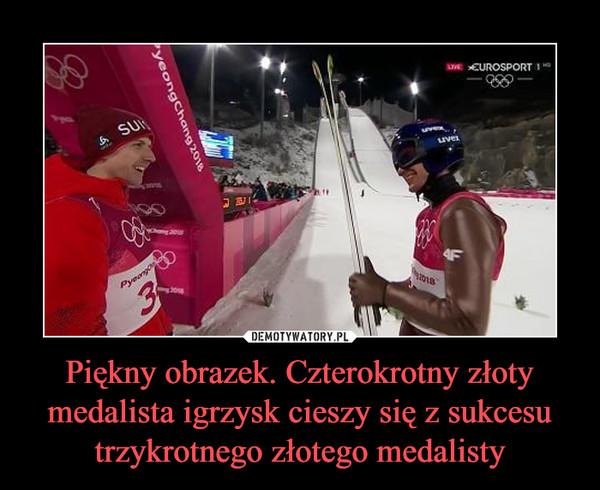 Piękny obrazek. Czterokrotny złoty medalista igrzysk cieszy się z sukcesu trzykrotnego złotego medalisty –