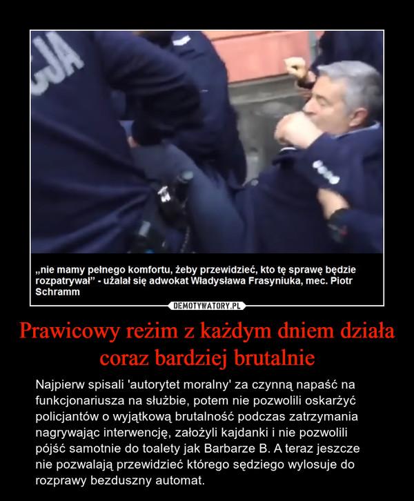 Prawicowy reżim z każdym dniem działa coraz bardziej brutalnie – Najpierw spisali 'autorytet moralny' za czynną napaść na funkcjonariusza na służbie, potem nie pozwolili oskarżyć policjantów o wyjątkową brutalność podczas zatrzymania nagrywając interwencję, założyli kajdanki i nie pozwolili pójść samotnie do toalety jak Barbarze B. A teraz jeszcze nie pozwalają przewidzieć którego sędziego wylosuje do rozprawy bezduszny automat.