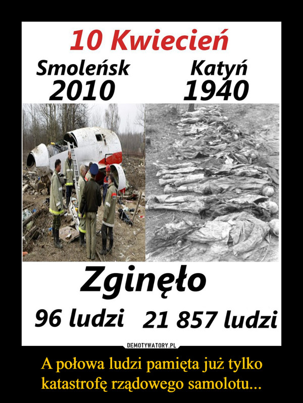 A połowa ludzi pamięta już tylkokatastrofę rządowego samolotu... –