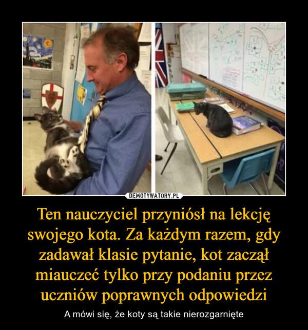 Ten nauczyciel przyniósł na lekcję swojego kota. Za każdym razem, gdy zadawał klasie pytanie, kot zaczął miauczeć tylko przy podaniu przez uczniów poprawnych odpowiedzi – A mówi się, że koty są takie nierozgarnięte