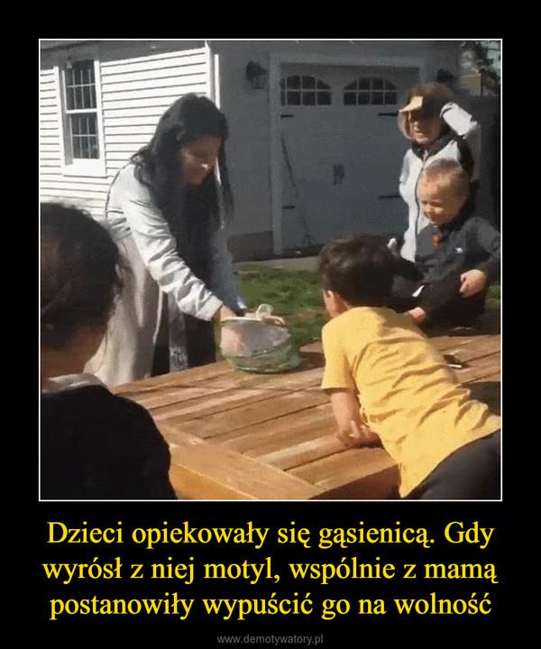 Dzieci opiekowały się gąsienicą. Gdy wyrósł z niej motyl, wspólnie z mamą postanowiły wypuścić go na wolność –