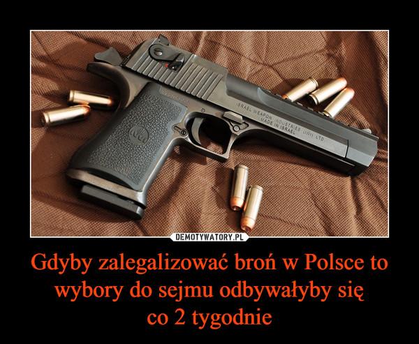 Gdyby zalegalizować broń w Polsce to wybory do sejmu odbywałyby sięco 2 tygodnie –