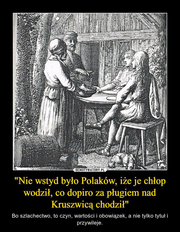 """""""Nie wstyd było Polaków, iże je chłop wodził, co dopiro za pługiem nad Kruszwicą chodził"""" – Bo szlachectwo, to czyn, wartości i obowiązek, a nie tylko tytuł i przywileje."""