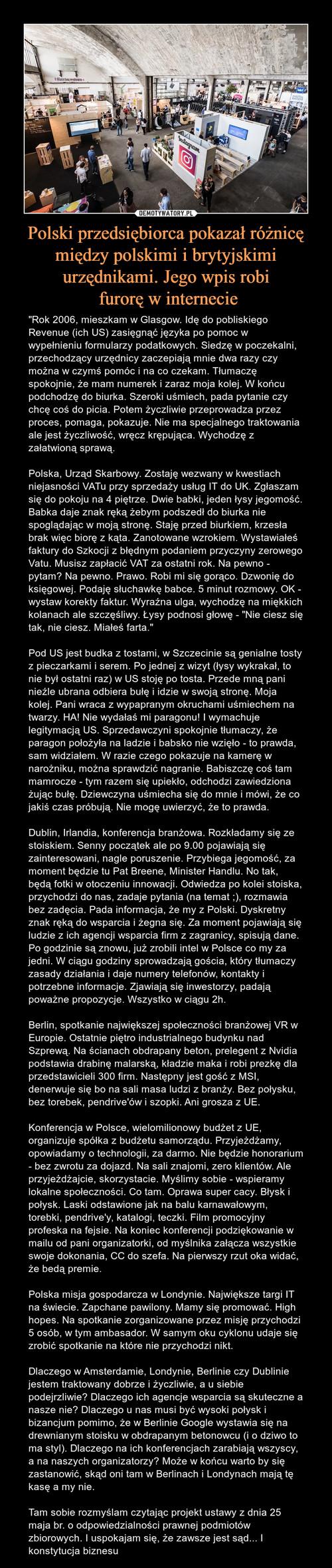 Polski przedsiębiorca pokazał różnicę między polskimi i brytyjskimi urzędnikami. Jego wpis robi  furorę w internecie