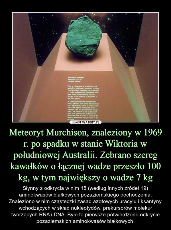 Meteoryt Murchison, znaleziony w 1969 r. po spadku w stanie Wiktoria w południowej Australii. Zebrano szereg kawałków o łącznej wadze przeszło 100 kg, w tym największy o wadze 7 kg – Słynny z odkrycia w nim 18 (według innych źródeł 19) aminokwasów białkowych pozaziemskiego pochodzenia. Znaleziono w nim cząsteczki zasad azotowych uracylu i ksantyny wchodzących w skład nukleotydów, prekursorów molekuł tworzących RNA i DNA. Było to pierwsze potwierdzone odkrycie pozaziemskich aminokwasów białkowych.