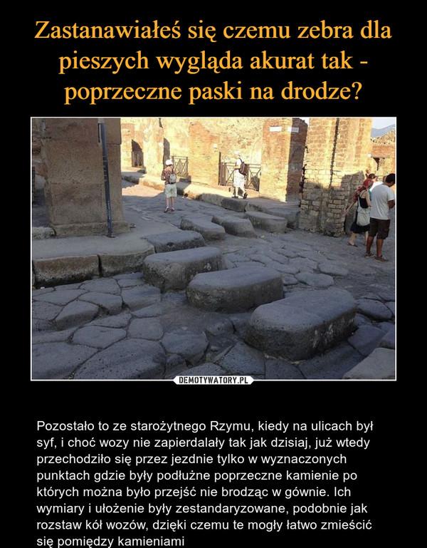 – Pozostało to ze starożytnego Rzymu, kiedy na ulicach był syf, i choć wozy nie zapierdalały tak jak dzisiaj, już wtedy przechodziło się przez jezdnie tylko w wyznaczonych punktach gdzie były podłużne poprzeczne kamienie po których można było przejść nie brodząc w gównie. Ich wymiary i ułożenie były zestandaryzowane, podobnie jak rozstaw kół wozów, dzięki czemu te mogły łatwo zmieścić się pomiędzy kamieniami