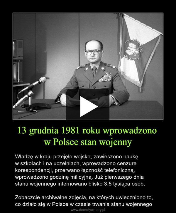13 grudnia 1981 roku wprowadzono w Polsce stan wojenny – Władzę w kraju przejęło wojsko, zawieszono naukęw szkołach i na uczelniach, wprowadzono cenzurę korespondencji, przerwano łączność telefoniczną, wprowadzono godzinę milicyjną. Już pierwszego dnia stanu wojennego internowano blisko 3,5 tysiąca osób.Zobaczcie archiwalne zdjęcia, na których uwieczniono to, co działo się w Polsce w czasie trwania stanu wojennego