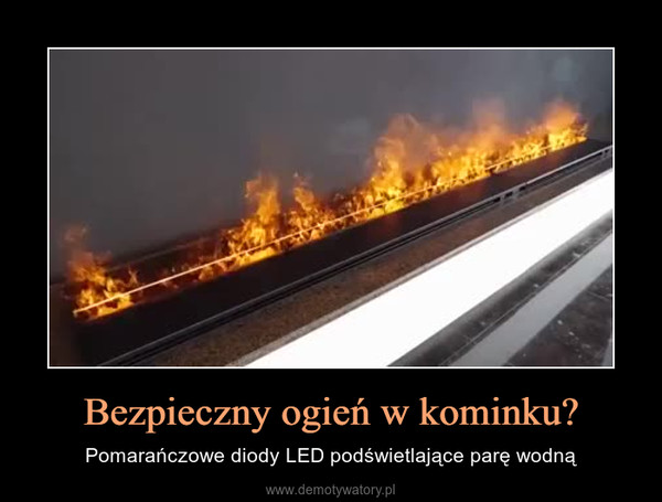 Bezpieczny ogień w kominku? – Pomarańczowe diody LED podświetlające parę wodną