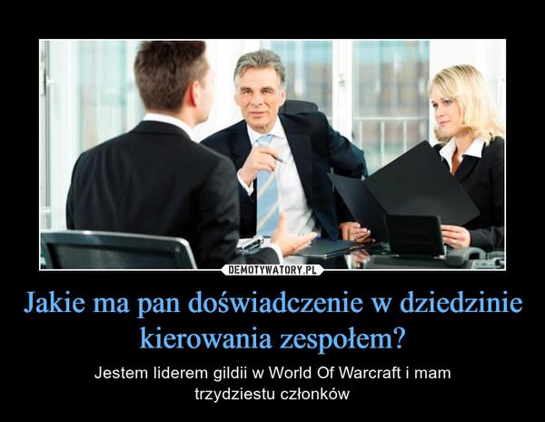 Jakie ma pan doświadczenie w dziedzinie kierowania zespołem? – Jestem liderem gildii w World Of Warcraft i mamtrzydziestu członków