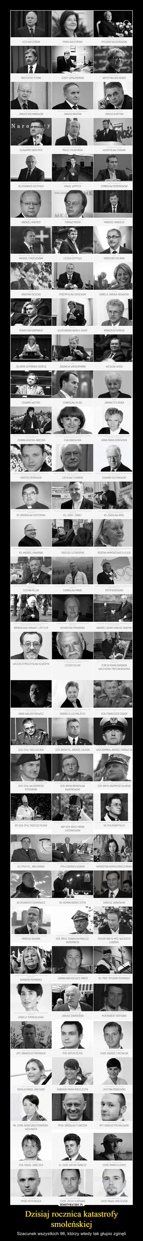 Dzisiaj rocznica katastrofy smoleńskiej – Szacunek wszystkich 96, którzy wtedy tak głupio zginęli