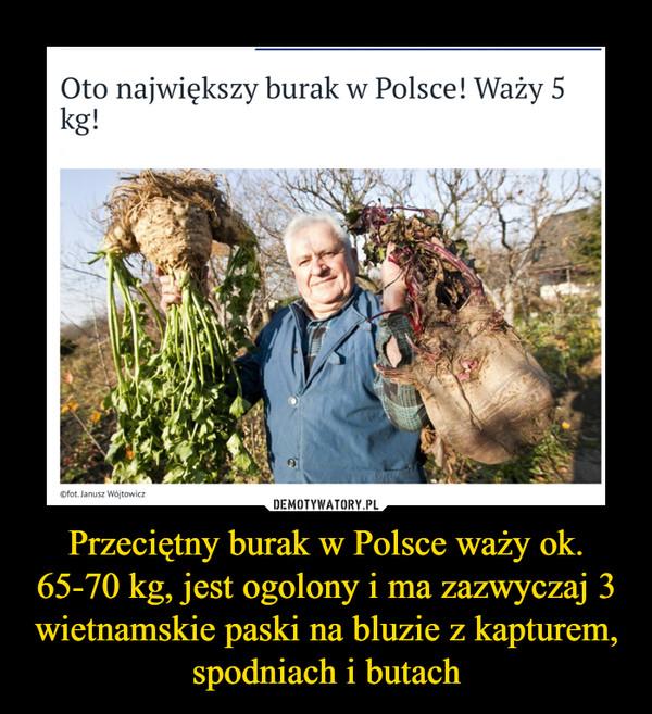 Przeciętny burak w Polsce waży ok. 65-70 kg, jest ogolony i ma zazwyczaj 3 wietnamskie paski na bluzie z kapturem, spodniach i butach –