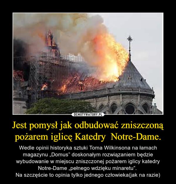 """Jest pomysł jak odbudować zniszczoną pożarem iglicę Katedry  Notre-Dame. – Wedle opinii historyka sztuki Toma Wilkinsona na łamach magazynu """"Domus"""" doskonałym rozwiązaniem będzie wybudowanie w miejscu zniszczonej pożarem iglicy katedry Notre-Dame """"pełnego wdzięku minaretu"""". Na szczęście to opinia tylko jednego człowieka(jak na razie)"""