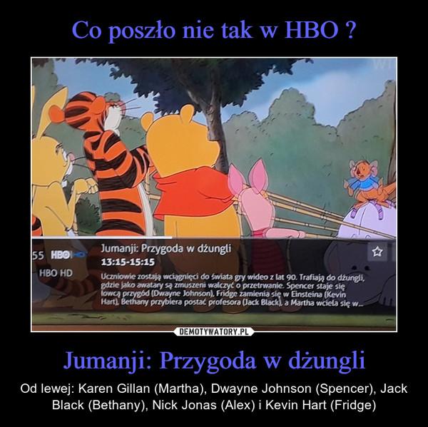 Jumanji: Przygoda w dżungli – Od lewej: Karen Gillan (Martha), Dwayne Johnson (Spencer), Jack Black (Bethany), Nick Jonas (Alex) i Kevin Hart (Fridge)