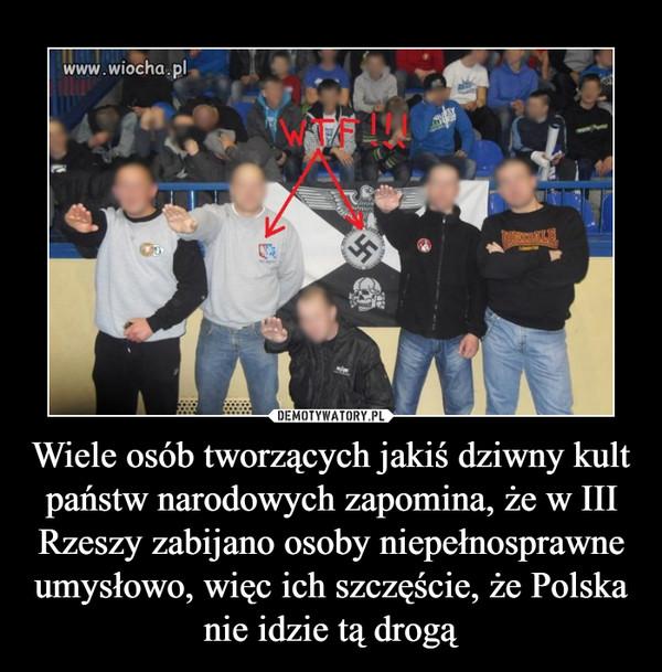 Wiele osób tworzących jakiś dziwny kult państw narodowych zapomina, że w III Rzeszy zabijano osoby niepełnosprawne umysłowo, więc ich szczęście, że Polska nie idzie tą drogą –