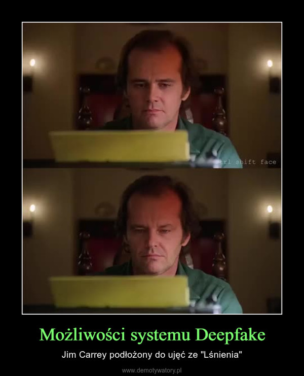 """Możliwości systemu Deepfake – Jim Carrey podłożony do ujęć ze """"Lśnienia"""""""