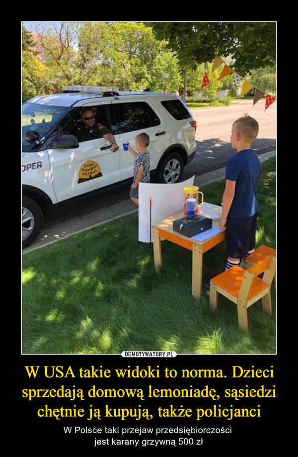 W USA takie widoki to norma. Dzieci sprzedają domową lemoniadę, sąsiedzi chętnie ją kupują, także policjanci – W Polsce taki przejaw przedsiębiorczości jest karany grzywną 500 zł