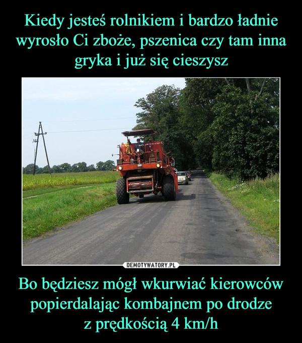 Bo będziesz mógł wkurwiać kierowców popierdalając kombajnem po drodzez prędkością 4 km/h –