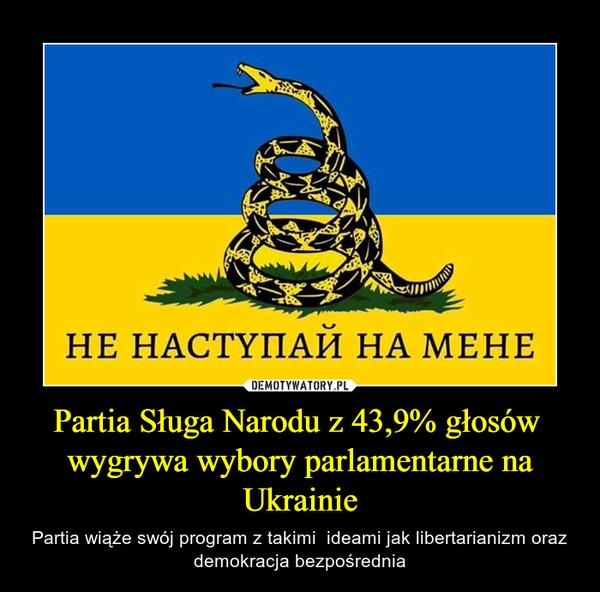 Partia Sługa Narodu z 43,9% głosów  wygrywa wybory parlamentarne na Ukrainie – Partia wiąże swój program z takimi  ideami jak libertarianizm oraz demokracja bezpośrednia