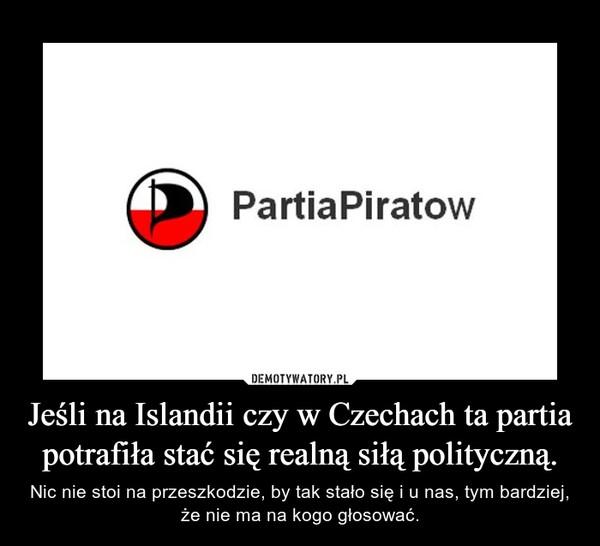 Jeśli na Islandii czy w Czechach ta partia potrafiła stać się realną siłą polityczną. – Nic nie stoi na przeszkodzie, by tak stało się i u nas, tym bardziej, że nie ma na kogo głosować.