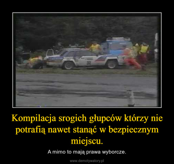 Kompilacja srogich głupców którzy nie potrafią nawet stanąć w bezpiecznym miejscu. – A mimo to mają prawa wyborcze.