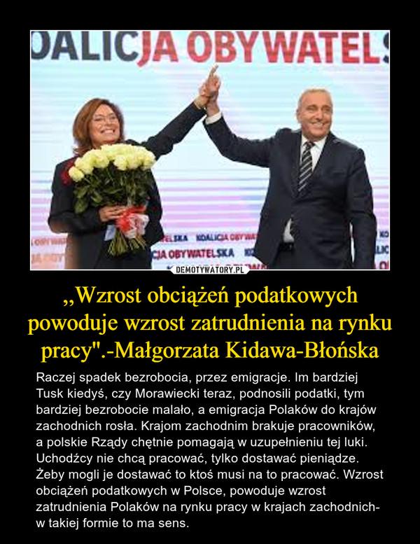 ,,Wzrost obciążeń podatkowych powoduje wzrost zatrudnienia na rynku pracy''.-Małgorzata Kidawa-Błońska – Raczej spadek bezrobocia, przez emigracje. Im bardziej Tusk kiedyś, czy Morawiecki teraz, podnosili podatki, tym bardziej bezrobocie malało, a emigracja Polaków do krajów zachodnich rosła. Krajom zachodnim brakuje pracowników, a polskie Rządy chętnie pomagają w uzupełnieniu tej luki. Uchodźcy nie chcą pracować, tylko dostawać pieniądze. Żeby mogli je dostawać to ktoś musi na to pracować. Wzrost obciążeń podatkowych w Polsce, powoduje wzrost zatrudnienia Polaków na rynku pracy w krajach zachodnich- w takiej formie to ma sens.