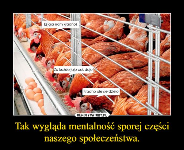 Tak wygląda mentalność sporej części naszego społeczeństwa. –