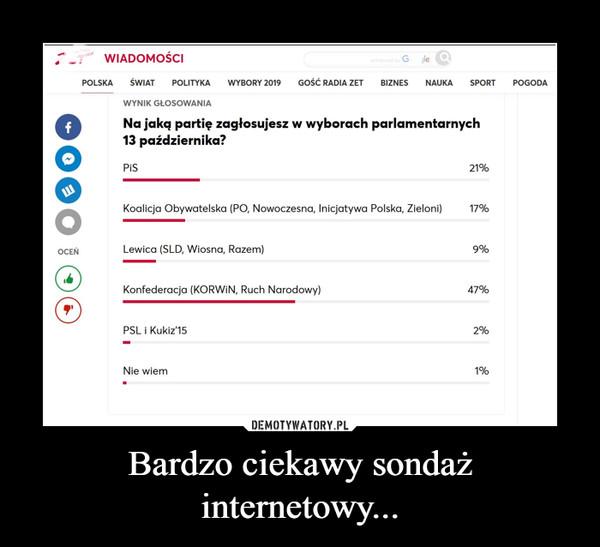 Bardzo ciekawy sondaż internetowy... –