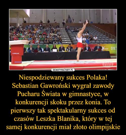 Niespodziewany sukces Polaka! Sebastian Gawroński wygrał zawody Pucharu Świata w gimnastyce, w konkurencji skoku przez konia. To pierwszy tak spektakularny sukces od czasów Leszka Blanika, który w tej samej konkurencji miał złoto olimpijskie