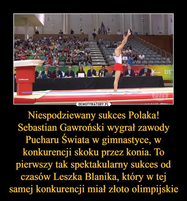 Niespodziewany sukces Polaka! Sebastian Gawroński wygrał zawody Pucharu Świata w gimnastyce, w konkurencji skoku przez konia. To pierwszy tak spektakularny sukces od czasów Leszka Blanika, który w tej samej konkurencji miał złoto olimpijskie –