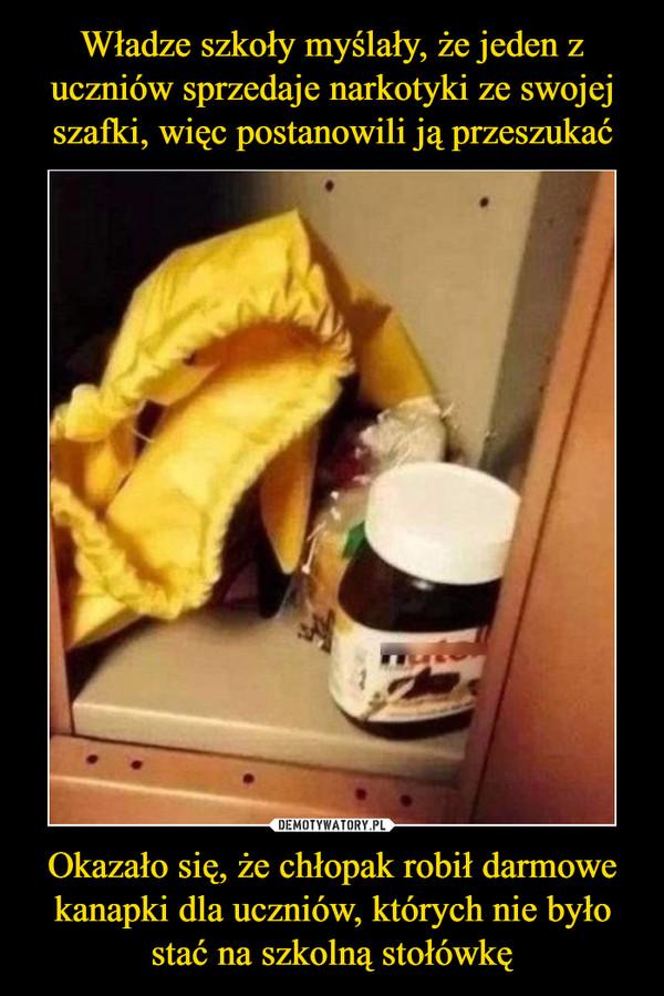Okazało się, że chłopak robił darmowe kanapki dla uczniów, których nie było stać na szkolną stołówkę –