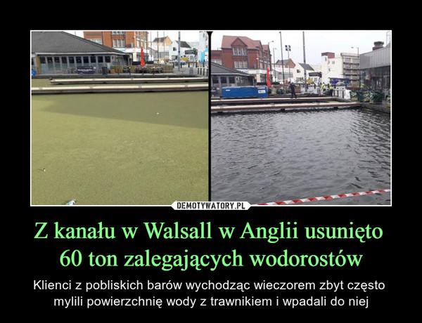 Z kanału w Walsall w Anglii usunięto 60 ton zalegających wodorostów – Klienci z pobliskich barów wychodząc wieczorem zbyt często mylili powierzchnię wody z trawnikiem i wpadali do niej