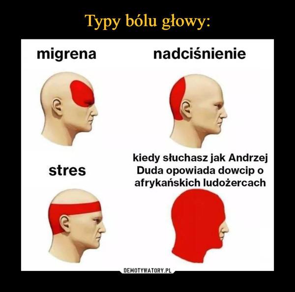 –  migrena nadciśnienie stres +/- kiedy słuchasz jak Andrzej Duda opowiada dowcip o afrykańskich ludożercach
