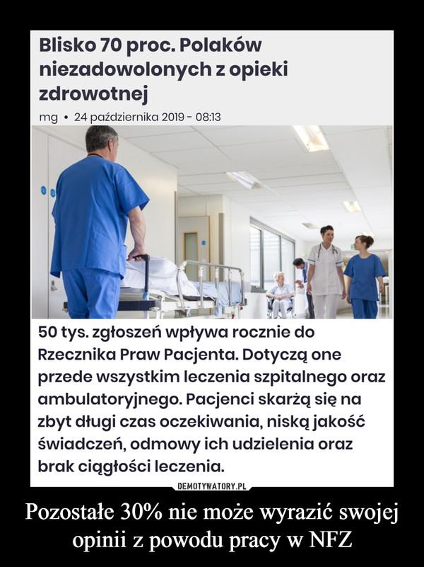 Pozostałe 30% nie może wyrazić swojej opinii z powodu pracy w NFZ –  50 tys. zgłoszeń wpływa rocznie do Rzecznika Praw Pacjenta. Dotyczą one przede wszystkim leczenia szpitalnego oraz ambulatoryjnego. Pacjenci skarżą się na zbyt długi czas oczekiwania, niską jakość świadczeń, odmowy ich udzielenia oraz brak ciągłości leczenia