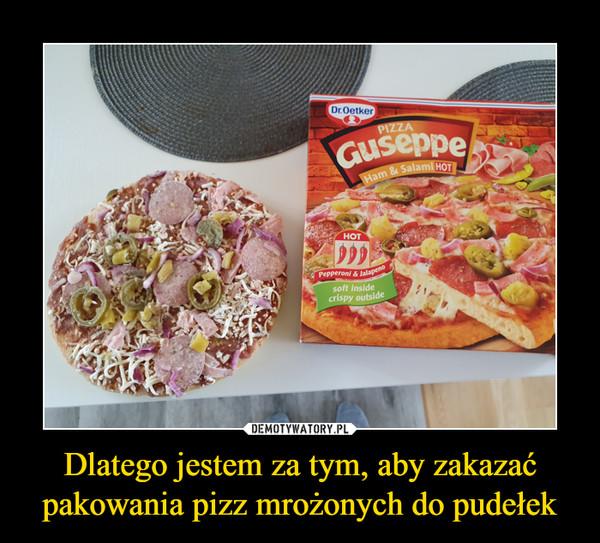 Dlatego jestem za tym, aby zakazać pakowania pizz mrożonych do pudełek –