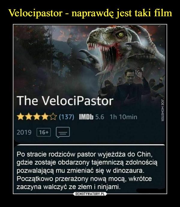 –  The VelociPastor****&(137) IMDbS IhlOmin2019 (j6+) r^nPo stracie rodziców pastor wyjeżdża do Chin,gdzie zostaje obdarzony tajemniczą zdolnościąpozwalającą mu zmieniać się w dinozaura.Początkowo przerażony nową mocą, wkrótcezaczyna walczyć ze złem i ninjami.