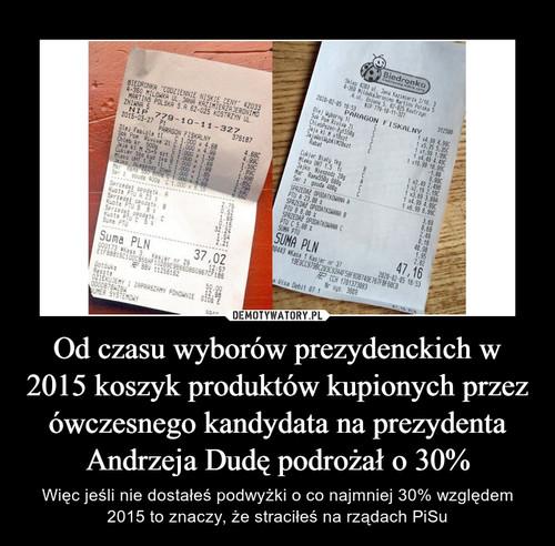 Od czasu wyborów prezydenckich w 2015 koszyk produktów kupionych przez ówczesnego kandydata na prezydenta Andrzeja Dudę podrożał o 30%