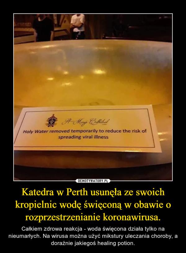 Katedra w Perth usunęła ze swoich kropielnic wodę święconą w obawie o rozprzestrzenianie koronawirusa. – Całkiem zdrowa reakcja - woda święcona działa tylko na nieumarłych. Na wirusa można użyć mikstury uleczania choroby, a doraźnie jakiegoś healing potion.