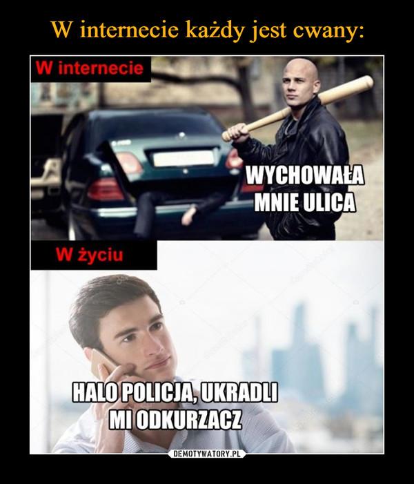 –  W internecieWYCHOWAŁAMNIE ULICAW życiuHALO POLICJA, UKRADLIMI ODKURZACZ