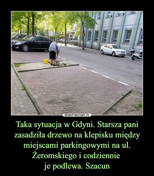 Taka sytuacja w Gdyni. Starsza pani zasadziła drzewo na klepisku między miejscami parkingowymi na ul. Żeromskiego i codziennie  je podlewa. Szacun