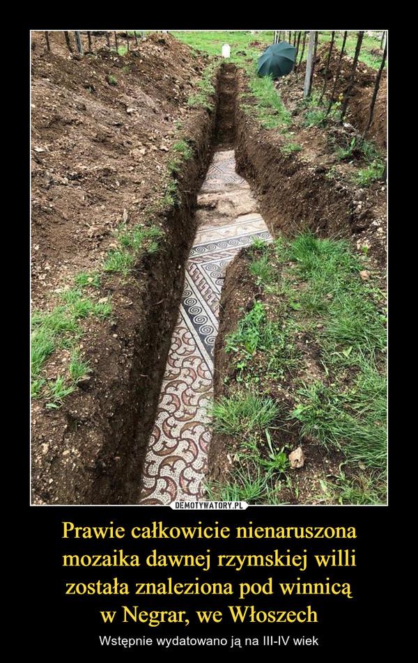 Prawie całkowicie nienaruszonamozaika dawnej rzymskiej willizostała znaleziona pod winnicąw Negrar, we Włoszech – Wstępnie wydatowano ją na III-IV wiek
