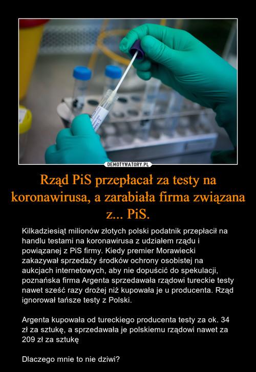 Rząd PiS przepłacał za testy na koronawirusa, a zarabiała firma związana z... PiS.
