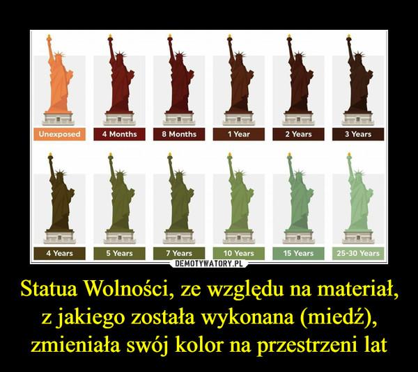 Statua Wolności, ze względu na materiał, z jakiego została wykonana (miedź), zmieniała swój kolor na przestrzeni lat –