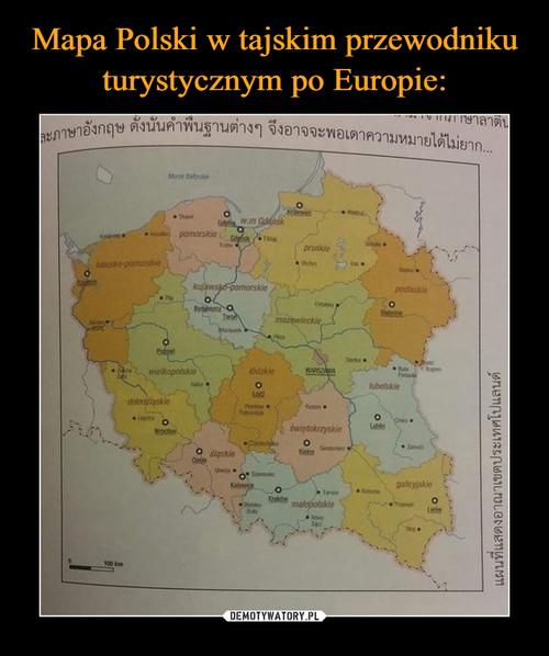 Mapa Polski w tajskim przewodniku turystycznym po Europie:
