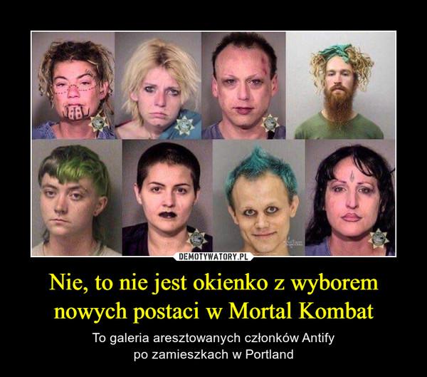 Nie, to nie jest okienko z wyborem nowych postaci w Mortal Kombat – To galeria aresztowanych członków Antifypo zamieszkach w Portland