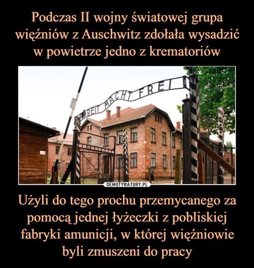 Podczas II wojny światowej grupa więźniów z Auschwitz zdołała wysadzić w powietrze jedno z krematoriów Użyli do tego prochu przemycanego za pomocą jednej łyżeczki z pobliskiej fabryki amunicji, w której więźniowie byli zmuszeni do pracy