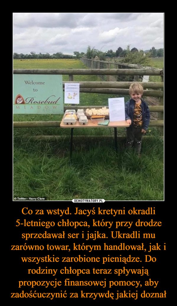 Co za wstyd. Jacyś kretyni okradli 5-letniego chłopca, który przy drodze sprzedawał ser i jajka. Ukradli mu zarówno towar, którym handlował, jak i wszystkie zarobione pieniądze. Do rodziny chłopca teraz spływają propozycje finansowej pomocy, aby zadośćuczynić za krzywdę jakiej doznał –