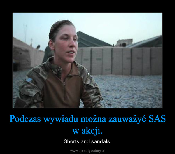 Podczas wywiadu można zauważyć SAS w akcji. – Shorts and sandals.