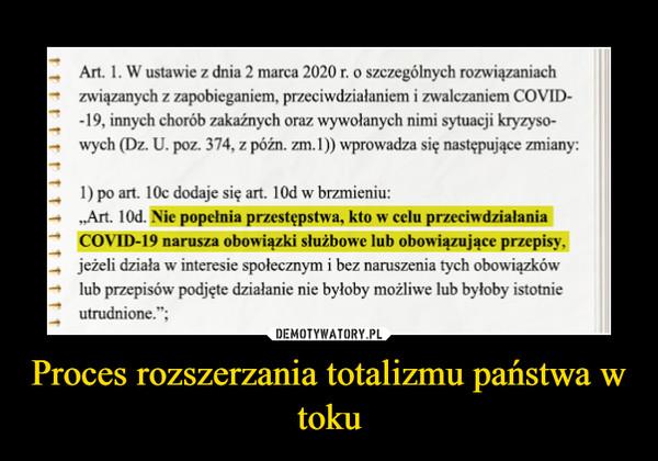 Proces rozszerzania totalizmu państwa w toku –