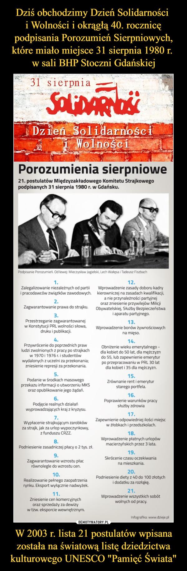 """W 2003 r. lista 21 postulatów wpisana została na światową listę dziedzictwa kulturowego UNESCO """"Pamięć Świata"""" –  Porozumienia sierpniowe21. postulatów Międzyzakładowego Komitetu Strajkowegopodpisanych 31 sierpnia 1980 r. w Gdańsku.1.Zalegalizowanie niezależnych od partiii pracodawców związków zawodowych.2.Zagwarantowanie prawa do strajku.3.Przestrzeganie zagwarantowanejw Konstytucji PHI wolności słowa,druku i publikacji.4.Przywrócenie do poprzednich prawludzi zwolnionych z pracy po strajkachw 1970 i 1976 r. i studentówwydalonych z uczelni za przekonania,zniesień ie represji za przekonania.5.Podanie w środkach masowegoprzekazu informacji o utworzeniu MKSoraz opublikowanie jego zadań.6.Podjecie realnych działańwyprowadzających kraj z kryzysu.7.Wypłacenie strajkującym zarobkówza strajk, jak za urlop wypoczynkowy,z funduszu CRZZ.8.Podniesienie zasadniczej płacy o 2 tys- zł.9.Zagwarantowanie wzrostu płacrównolegle do wzrostu cen.10.Realizowanie pełnego zaopatrzeniarynku Eksport wyłącznie nadwyżek.11.Zniesienie cen komercyjnychoraz sprzedaży za dewizyw tzw. eksporcie wewnętrznym.12.Wprowadzenie zasady doboru kadrykierowniczej na zasadach kwalifikacji,a n»e przynależności partyjnejoraz zniesienie przywilejów MilicjiObywatelskiej. Służby Bezpieczeństwai aparatu partyjnego.13.Wprowadzenie bonów zywrościowychna mięso.14.Obniżenie wieku emerytalnego -dla kobiet do 50 lat dla mężczyzndo 55. lub zapewnienie emeryturpo przepracowaniu w PRL BO latdla kobiet i 35 da mężczyzn,15.Zrównanie rent i emeryturstarego portfela.16.Poprawienie warunków pracysłużby zdrowia17.Zapewnień* odpowiedniej ilości miejscw żłobkach i przedszkolach.18.Wprowadzenie płatnych urlopówmacierzyńskich przez 3 lata.19.Skrócenie czasu oczekiwaniana nueszkania.20.Podniesienie diety z WJ do 100 złotychi dodatku za rozłąkę.21.Wprowadzenie wszystkich sobólwolnych od pracy.nfograf** «ww rJae.e pl"""