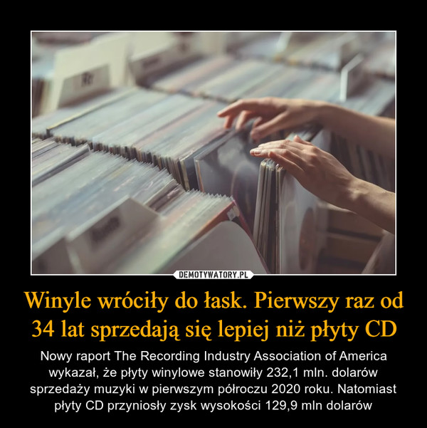 Winyle wróciły do łask. Pierwszy raz od 34 lat sprzedają się lepiej niż płyty CD – Nowy raport The Recording Industry Association of America wykazał, że płyty winylowe stanowiły 232,1 mln. dolarów sprzedaży muzyki w pierwszym półroczu 2020 roku. Natomiast płyty CD przyniosły zysk wysokości 129,9 mln dolarów